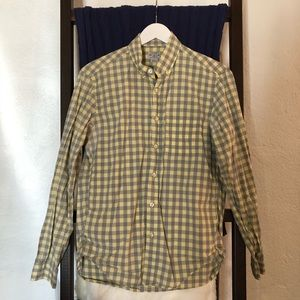 J. Crew Gray & Yellow Checkered Shirt